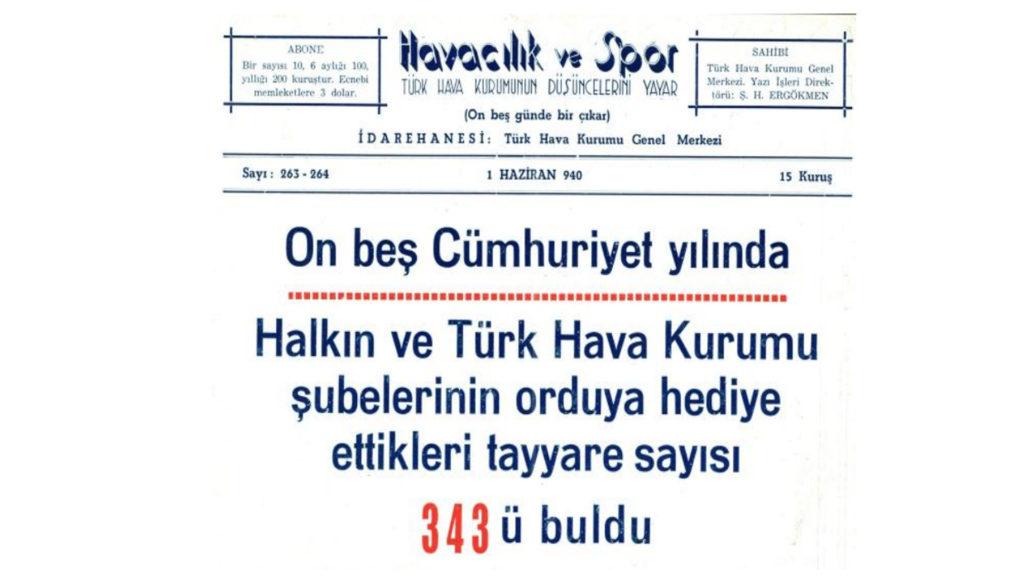 Halkın ve Türk Hava Kurumu şubelerinin orduya hediye ettikleri tayyare sayısı 343'ü buldu.